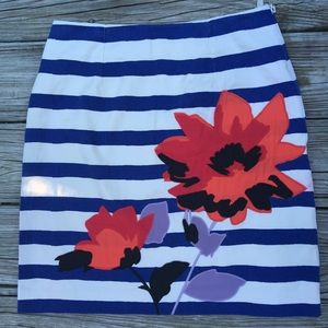 Boden Skirt Stripe Blue White Floral Appliqué 6